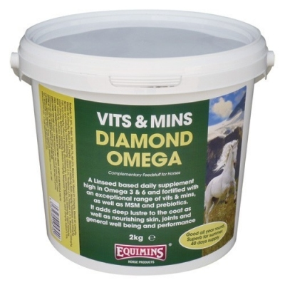 EQUIMINS Diamond Omega - dodatek mineralno- witaminowy na bazie lnu, zmniejszający produkcję kwasu mlekowego 2 kg
